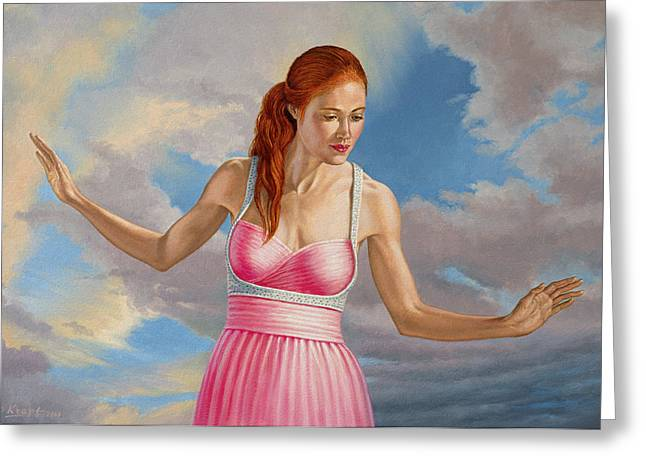 Gown Paintings Greeting Cards - Becca in Pink Greeting Card by Paul Krapf