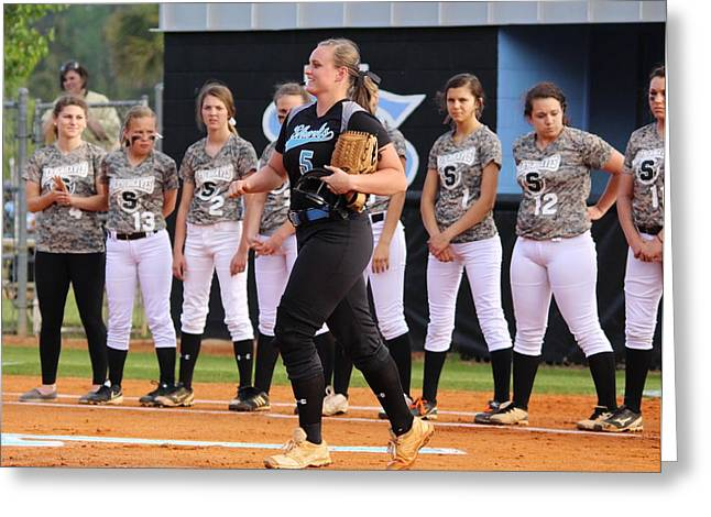 Taking The Field Greeting Cards - Becca taking the field Greeting Card by Paulette Thomas