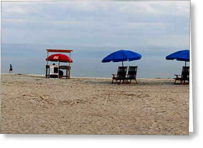 Ocean Panorama Greeting Cards - Beach Chairs Panorama Hilton Head  Greeting Card by Thomas Marchessault