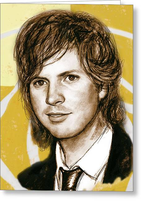Beck Greeting Cards - Beck Hansen - stylised drawing art poster Greeting Card by Kim Wang