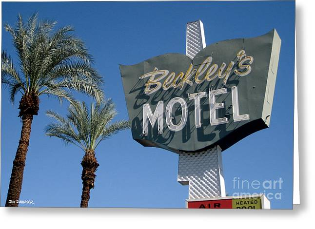 Rat Pack Greeting Cards - Beckleys Motel Cathedral City Greeting Card by Jim Zahniser