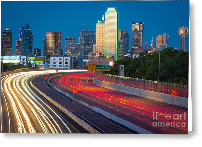 Highway Greeting Cards - Beckoning Lights Greeting Card by Inge Johnsson