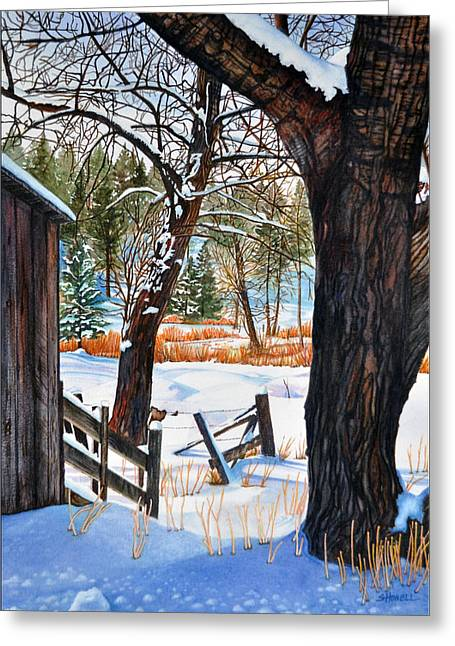 Barn Covered In Snow Greeting Cards - Beckworth Bathed in Snow Greeting Card by Sandi Howell