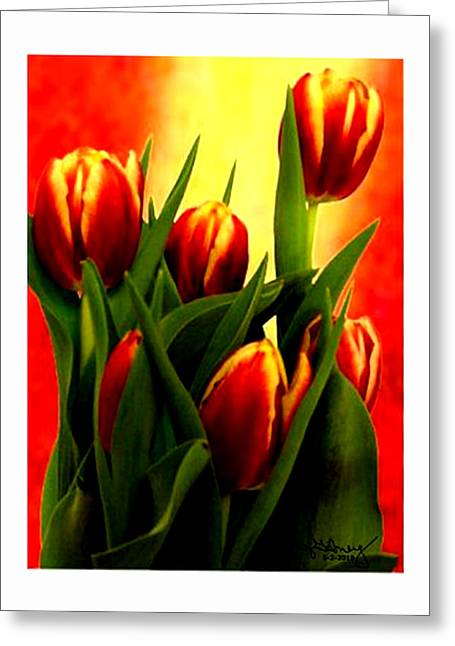 Becky Digital Art Greeting Cards - Becky Tulips Art2 jGibney The MUSEUM Gifts Greeting Card by The MUSEUM Artist Series jGibney