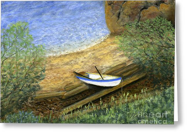Row Pastels Greeting Cards - Beckys Boat Greeting Card by Ginny Neece