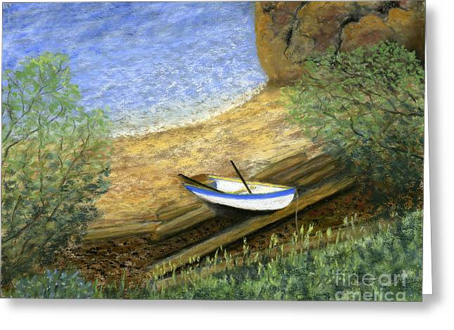Nautical Pastels Greeting Cards - Beckys Boat Greeting Card by Ginny Neece