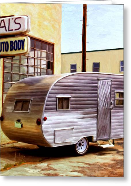 Teardrop Greeting Cards - Beckys Vintage Travel Trailer Greeting Card by Michael Pickett