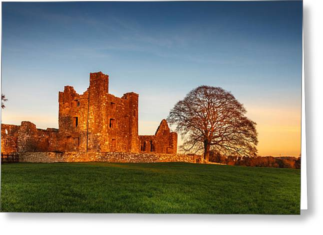 Sunset Prints Of Ireland Greeting Cards - Bective Abbey Greeting Card by John Hurley