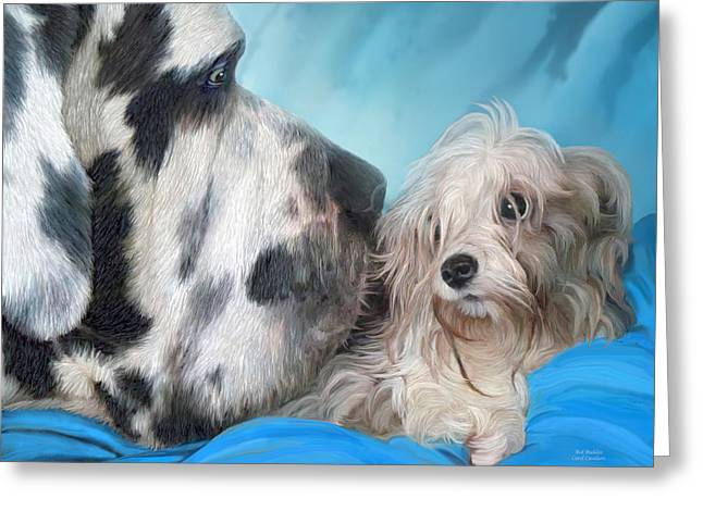 Dog Art Mixed Media Greeting Cards - Bed Buddies Greeting Card by Carol Cavalaris