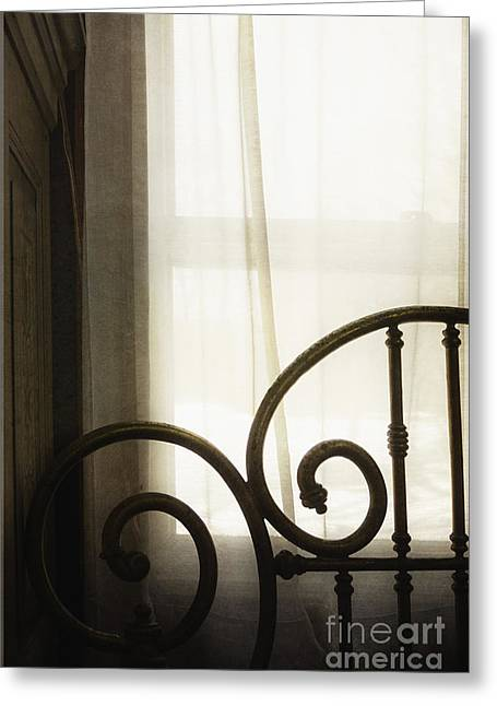 Houses Bed And Breakfast Greeting Cards - Bed By The Window Greeting Card by Margie Hurwich