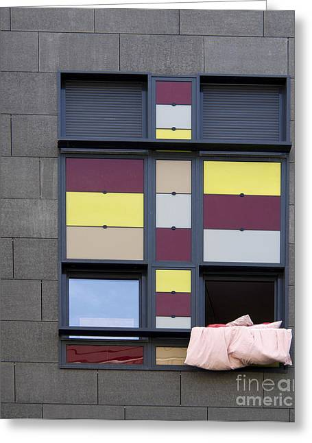 Geometric Shape Greeting Cards - Bed sheet in a building window. Greeting Card by Bernard Jaubert