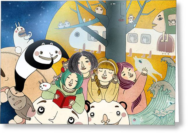 Magic Time Greeting Cards - Bed time Story Greeting Card by Yoyo Zhao