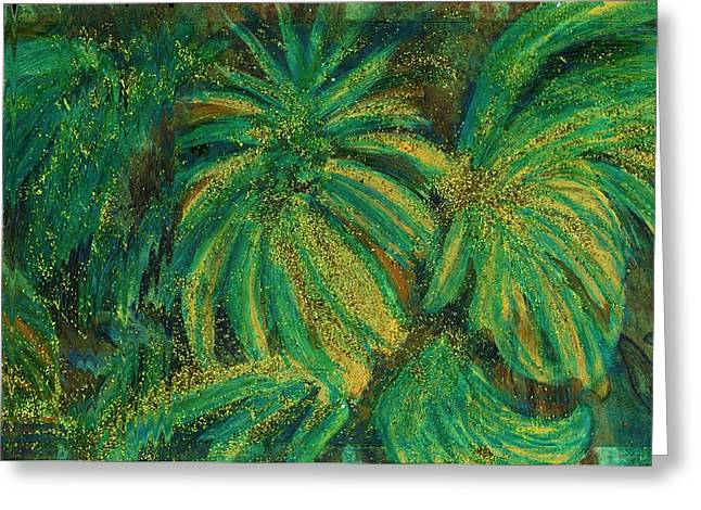Lush Green Mixed Media Greeting Cards - Bedazzled Leaves Greeting Card by Anne-Elizabeth Whiteway