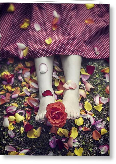 Lies Greeting Cards - Bedded In Petals Greeting Card by Joana Kruse