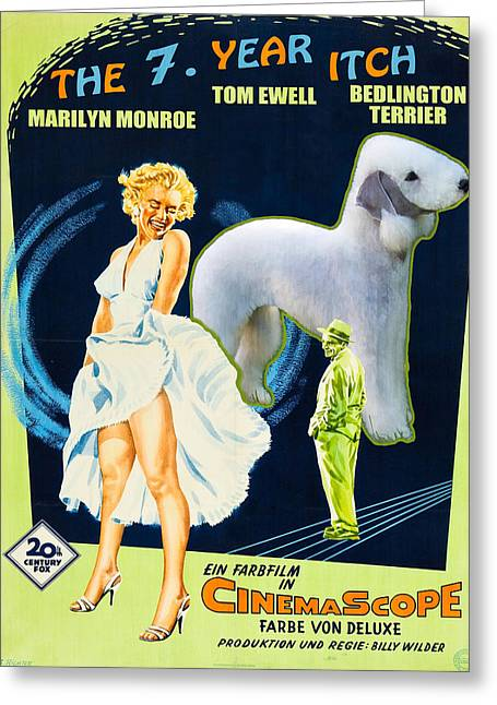 Seven Year Itch Greeting Cards - Bedlington Terrier Art Canvas Print - The Seven Year Itch Movie Poster Greeting Card by Sandra Sij
