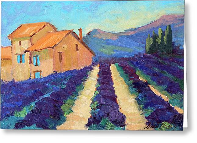 Old Farm House Greeting Cards - Bedoin - Provence Lavender Greeting Card by Diane McClary