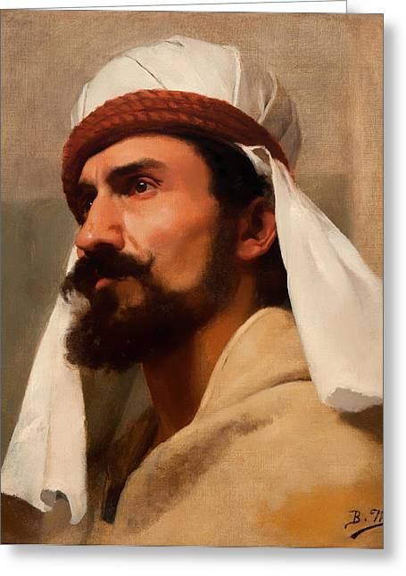 Mustache Greeting Cards - Bedouin Greeting Card by Berthe Worms