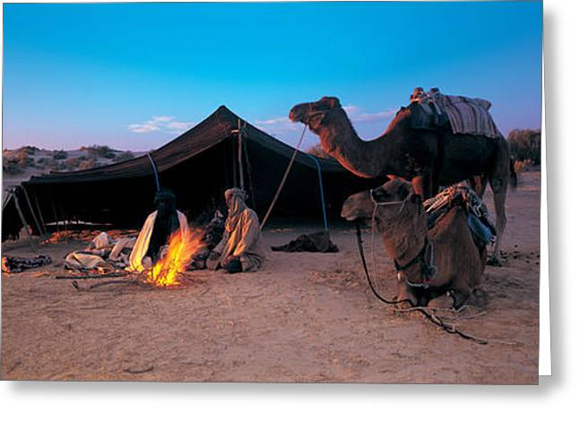 Campfire Greeting Cards - Bedouin Camp, Tunisia, Africa Greeting Card by Panoramic Images
