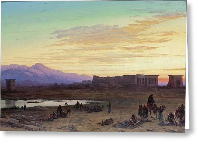 Bedouin Encampment Before The Temple Of Hathor At Dendera Greeting Card by Charles Vacher