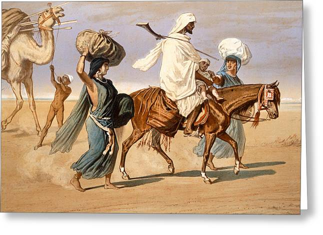 Burden Greeting Cards - Bedouin family travels across the desert Greeting Card by Henri de Montaut
