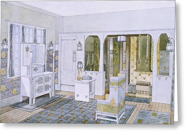 Modernism Drawings Greeting Cards - Bedroom Designed By Will Bradley Greeting Card by .