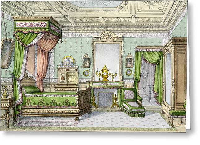 Oil Lamp Greeting Cards - Bedroom In The Renaissance Style Greeting Card by French School