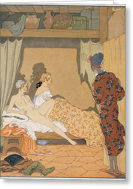 Cheat Greeting Cards - Bedroom Scene Greeting Card by Georges Barbier