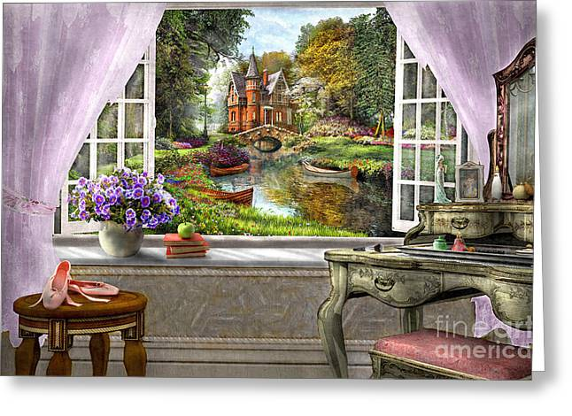 Peaceful Pond Greeting Cards - Bedroom View Greeting Card by Dominic Davison