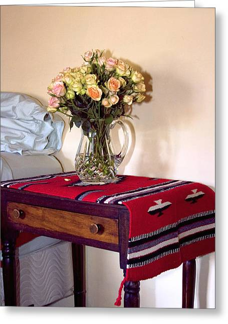 Interior Still Life Greeting Cards - BEDSIDE DESERT ROSES Palm Springs Greeting Card by William Dey