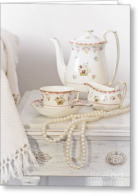 Cupboard Greeting Cards - Bedside Table For Tea Greeting Card by Amanda And Christopher Elwell