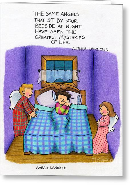 Hand Drawn Greeting Cards - Bedside Vigil Greeting Card by Sarah Batalka