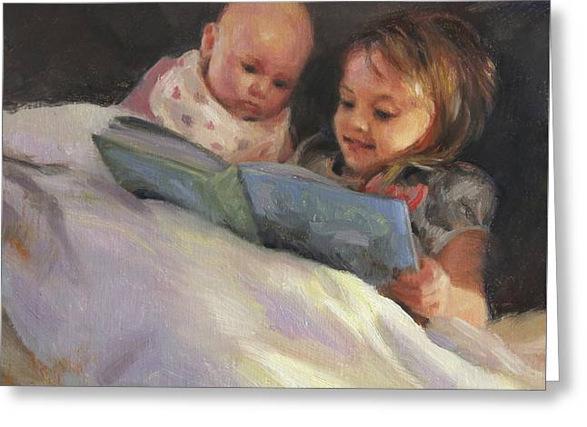 Little Sister Greeting Cards - Bedtime Bible Stories Greeting Card by Anna Bain