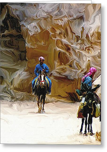 Jordan Trail Greeting Cards - Beduins on the Silk Trail Greeting Card by Ted Guhl