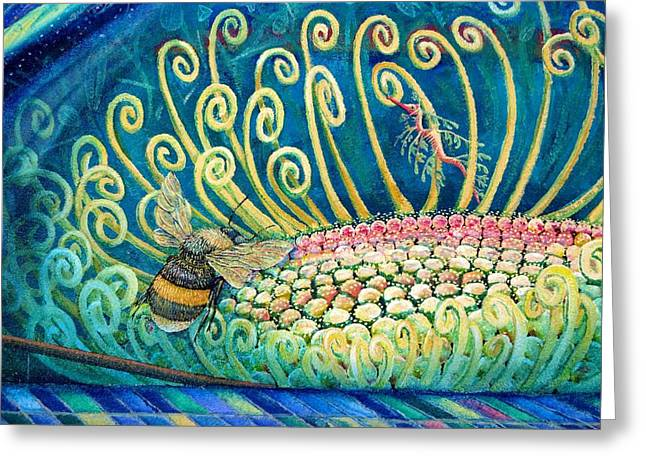 Leafy Sea Dragon Greeting Cards - Bee Amazing mural detail Greeting Card by Elizabeth Criss