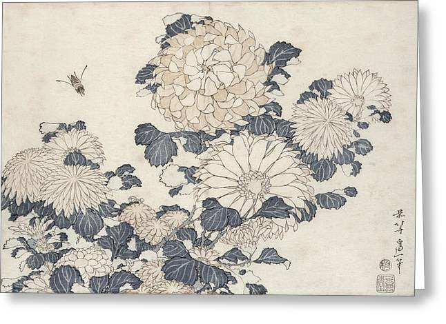 Chrysanthemum Greeting Cards - Bee And Chrysanthemums, From The Series Big Flowers Colour Woodblock Print Greeting Card by Katsushika Hokusai