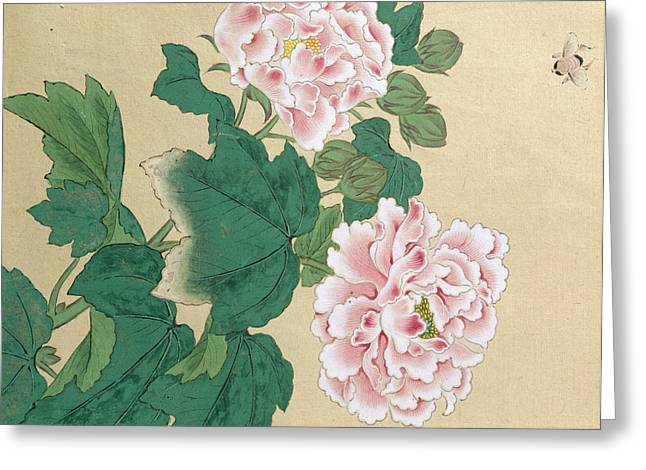 Bees Greeting Cards - Bee and Peony Greeting Card by Ichimiosai