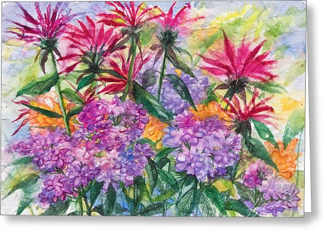 Purple Phlox Greeting Cards - Bee balm and Phlox Greeting Card by Patricia Allingham Carlson
