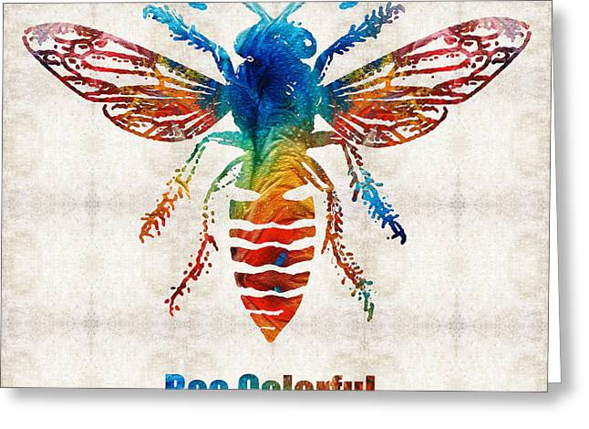 Honey Bee Greeting Cards - Bee Colorful - Art by Sharon Cummings Greeting Card by Sharon Cummings