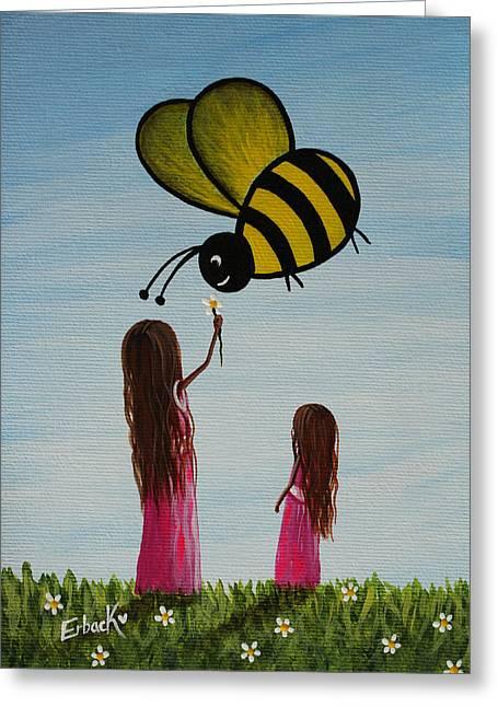 Whimsical Greeting Cards - Bee Happy Original Artwork Greeting Card by Shawna Erback