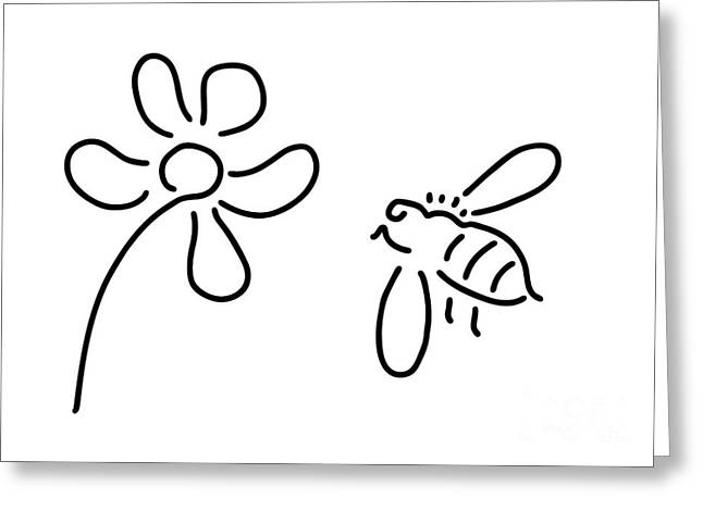 Bee Honey Flower Blossom Greeting Card by Lineamentum