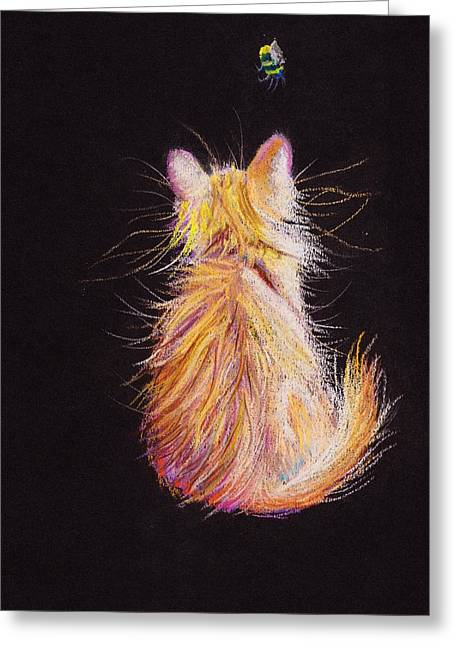 Cute Kitten Pastels Greeting Cards - Bee Inspired   in pastels Greeting Card by Debra Hall
