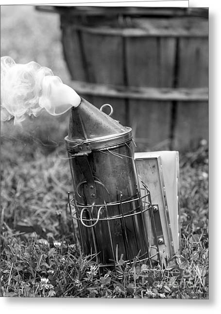 Smoker Greeting Cards - Bee Keeper Smoker Black and White Greeting Card by Iris Richardson