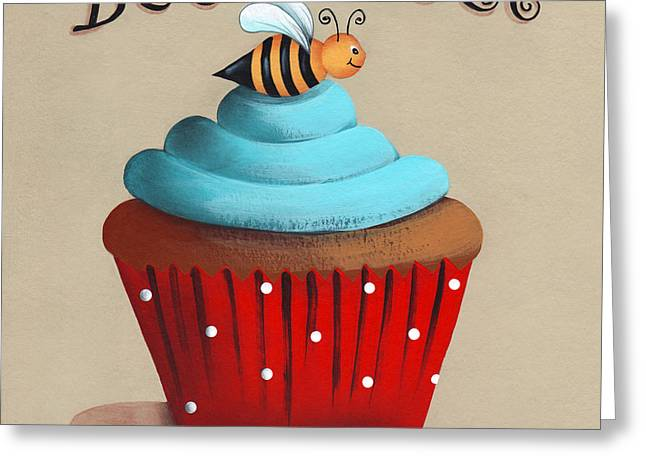 Best Sellers -  - Catherine White Greeting Cards - Bee Sweet Cupcake Greeting Card by Catherine Holman