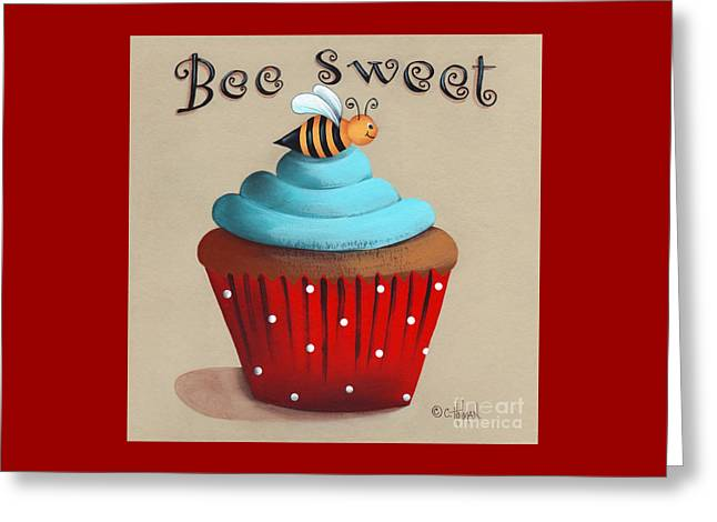 Catherine White Paintings Greeting Cards - Bee Sweet Cupcake Greeting Card by Catherine Holman