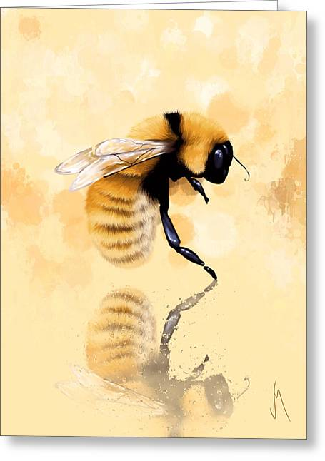 Water Drop Greeting Cards - Bee Greeting Card by Veronica Minozzi