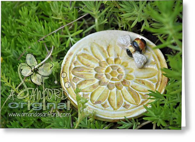 Unique Ceramics Greeting Cards - Bee-ware Greeting Card by Amanda  Sanford