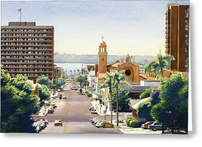 Southern Scene Greeting Cards - Beech Street in San Diego Greeting Card by Mary Helmreich