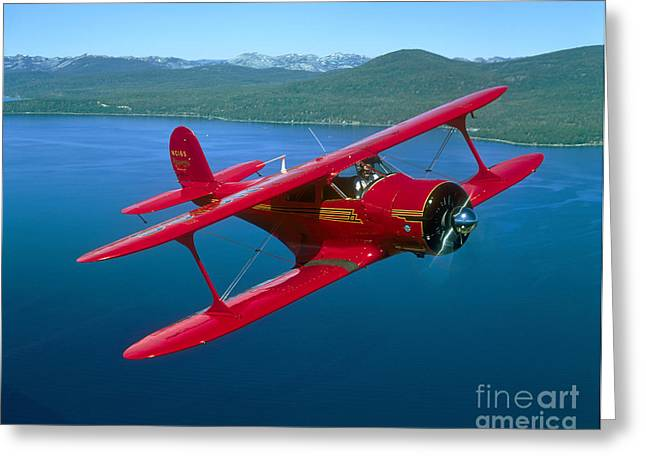 Model Aircraft Greeting Cards - Beechcraft Model 17 Staggerwing Flying Greeting Card by Phil Wallick
