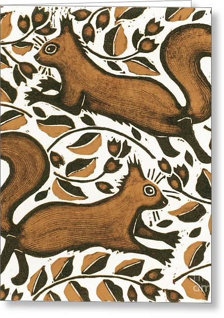 Lining Greeting Cards - Beechnut Squirrels Greeting Card by Nat Morley