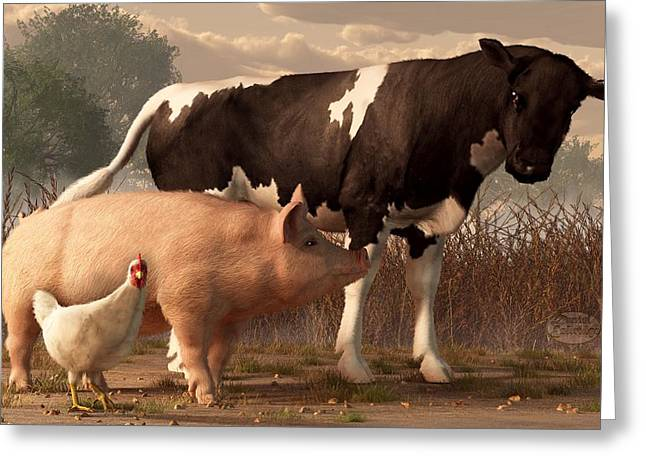 Barnyard Digital Greeting Cards - Beef Pork and Poultry  Greeting Card by Daniel Eskridge